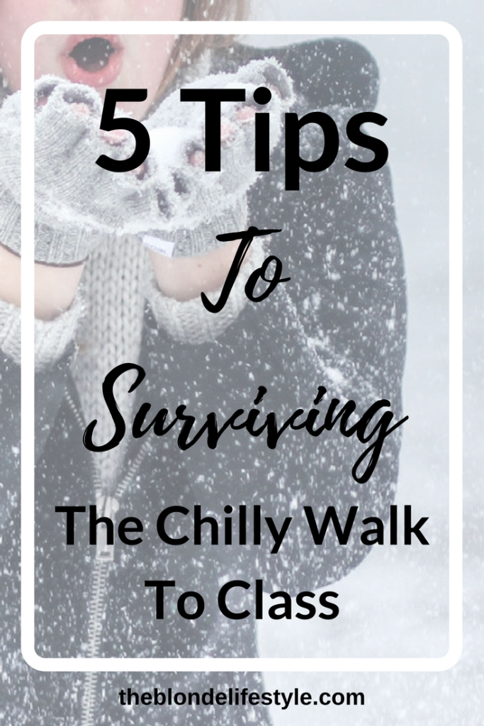 The walk to class in the winter is so cold and unbearable, there are times I don't want to even walk to class! If I skip class, it makes it hard to me to do well academically. Survive the cold and winter weather with my 5 tips! 5 Tips to surviving the chilly walk to class --theblondelifestyle.com